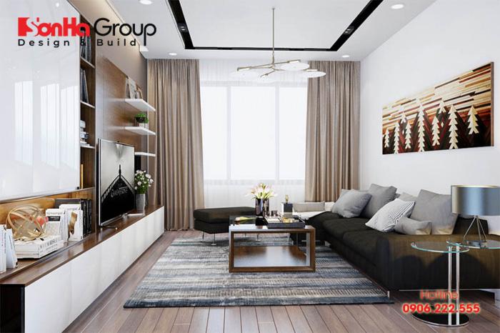 Phòng khách hiện đại sang trọng với bộ sofa giản dị, đèn chùm trang trí cao cấp
