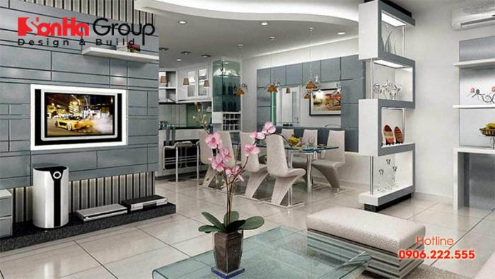 Phòng khách liên thông phòng bếp cho nhà ống hiện đại đẹp, tiện nghi