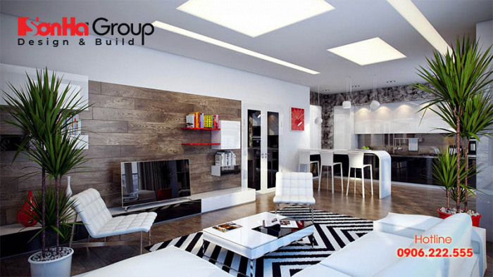 Phòng khách mang phong cách hiện đại đẹp và tiện nghi với kinh phí thi công tiết kiệm được nhiều Chủ đầu tư thích thú lựa chọn