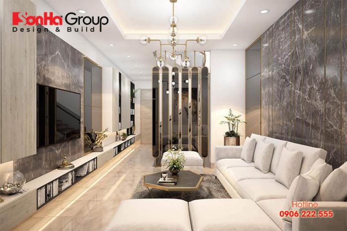 Phòng khách màu sắc hiện đại với cách tạo hình khối đem lại chiều sâu cho ngôi nhà ống