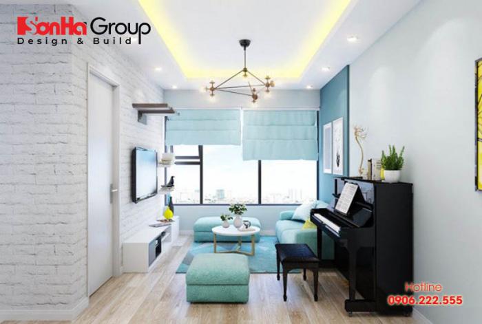 Phòng khách màu xanh dương sẽ khiến bạn có được một không gian phòng khách độc đáo và đẹp mĩ mãn