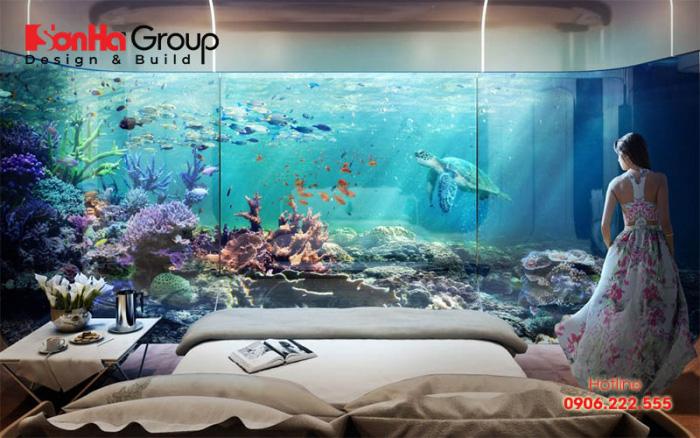 Phòng ngủ được thiết kế hiện đại với chiếc giường rộng lớn êm ái