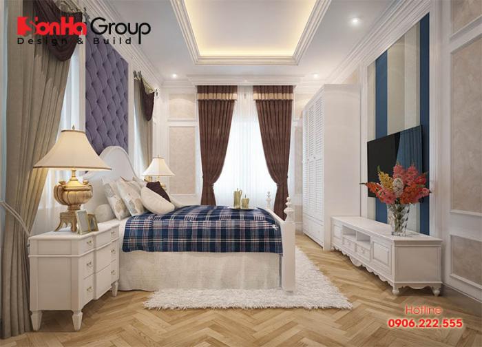 Phòng ngủ khách sạn tiêu chuẩn 3 sao thiết kế mang phong cách tân cổ điển đẹp nhẹ nhàng