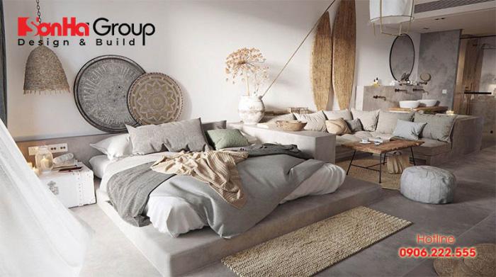 Phòng ngủ phong cách Hàn Quốc với màu trắng xám chủ đạo cùng nội thất độc đáo