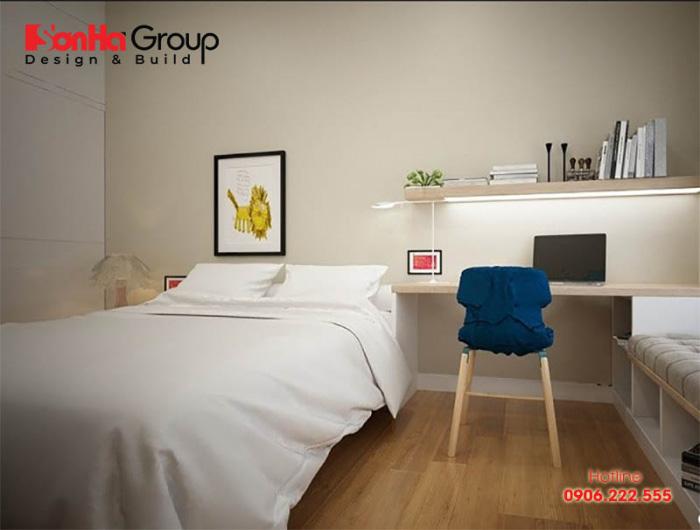 Phương án bày trí nội thất phòng ngủ 6m2 hiện đại trẻ trung và tiện nghi với sắc trắng chủ đạo