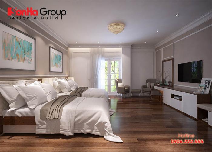 Thiết kế nội thất phòng ngủ khách sạn 3 sao với nội thất hiện đại đáo ứng nhu cầu nghỉ dưỡng của cả gia đình