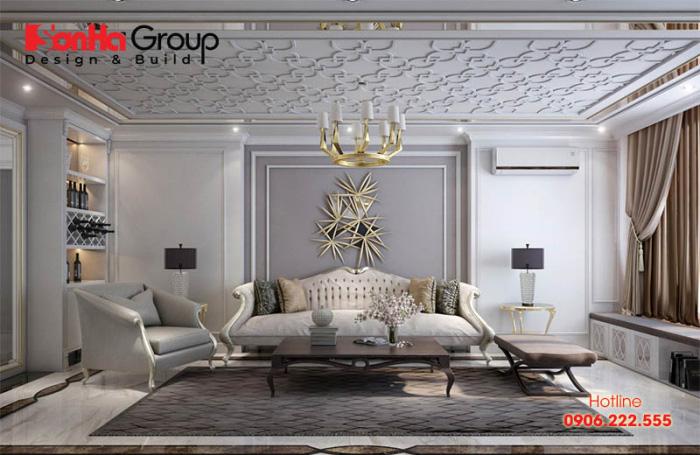 Thiết kế nội thất tân cổ điển kiểu dáng độc đáo, gam màu trắng tinh tế đã mang đến cho không gian phòng khách sự thoáng đãng nhưng cũng rất sang trọng