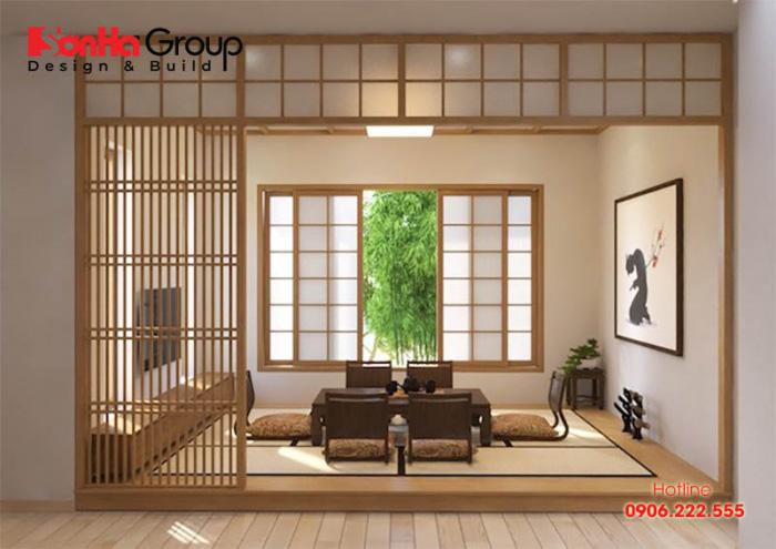 Thiết kế phòng khách bệt phong cách Nhật Bản