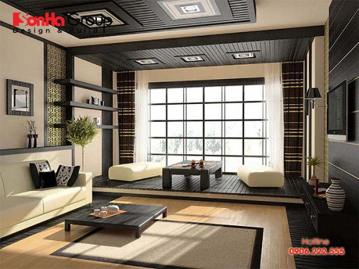 Thiết kế phòng khách ngồi bệt với không gian ấm cúng đơn giản