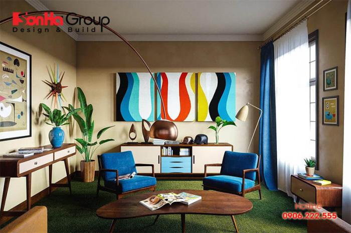 Thiết kế phòng khách vintage mới lạ và độc đáo