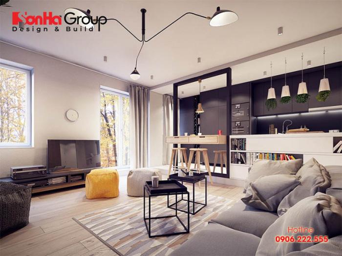 Thiết kế phòng khách vintage với nội thất hiện đại, đơn giản theo xu hướng mới nhất hiện nay