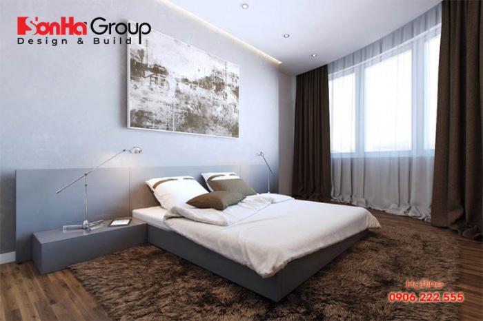 Thiết kế phòng ngủ chung cư mang phong cách hiện đại, đơn giản