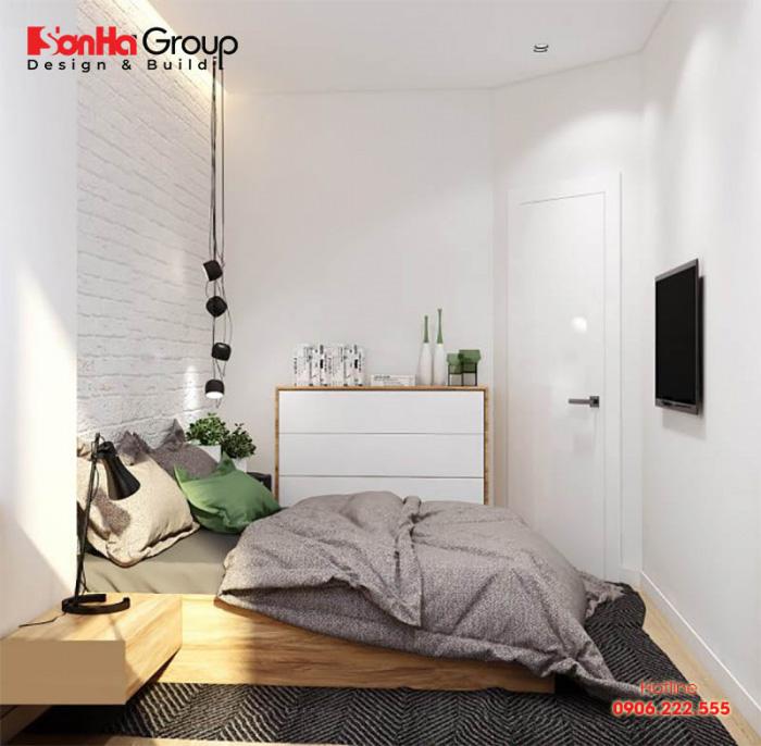 Thiết kế phòng ngủ nhỏ với gam màu tươi sáng, nhẹ nhàng sẽ giúp không gian trở nên rộng rãi hơn