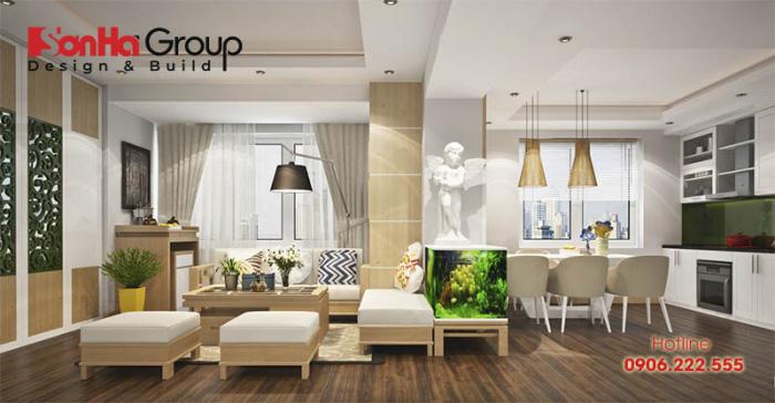 Tiểu cảnh nhỏ xinh cho không gian phòng khách chung cư thêm hiện đại