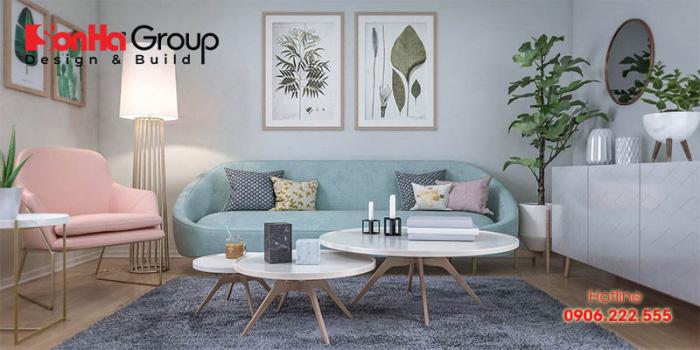 Trang trí phòng khách phong cách vintage pha chút hiện đại sẽ có nhiều cách chọn màu khác nhau từ màu be, kem hoặc trắng