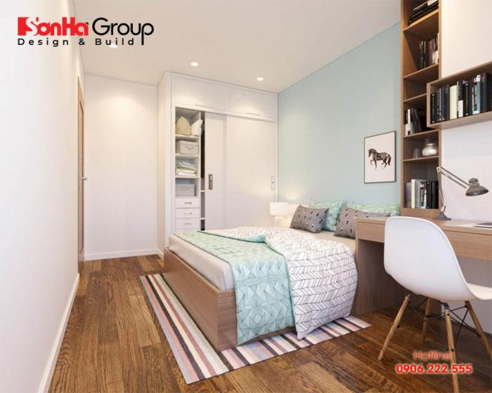 Trang trí phòng ngủ nhỏ hiện đại với gam màu tươi sáng giúp ăn gian diện tích