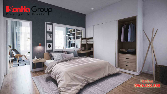 Trang trí phòng ngủ nhỏ kiểu Hàn Quốc với tông màu trắng tinh khôi nổi bật là những chi tiết gối gam màu đậm