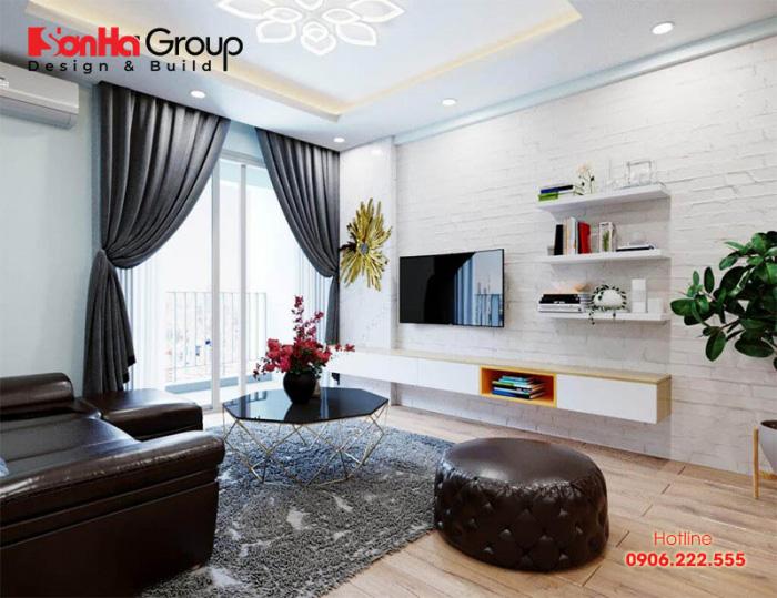 Tùy theo diện tích sử dụng của mỗi căn hộ mà phòng khách chung cư được thiết kế khoa học và đẹp mắt nhất