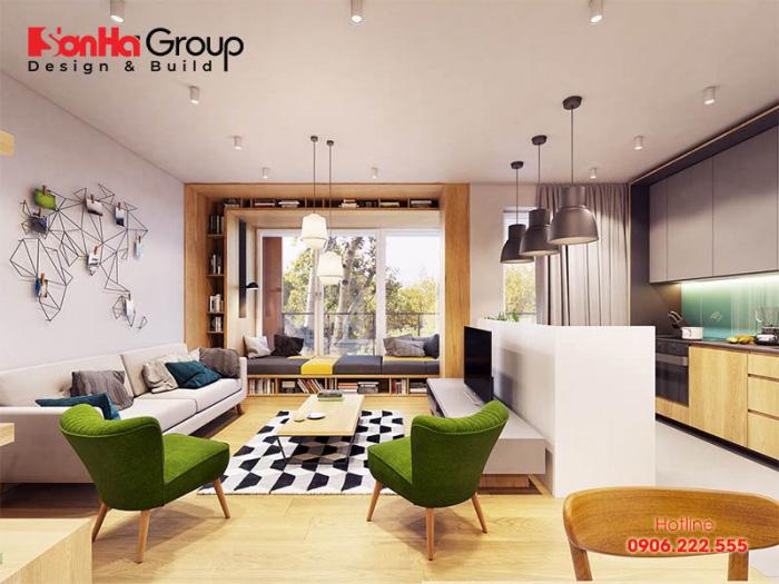 Tùy vào sở thích cá nhân bạn có thể lựa chọn amù sắc để làm nổi bật nên không gian phòng khách