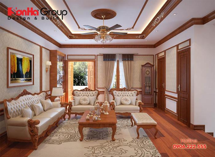 Vật liệu gỗ luôn là sự lựa chọn hàng đầu trong thiết kế thi công nội thất phòng khách tân cổ điển