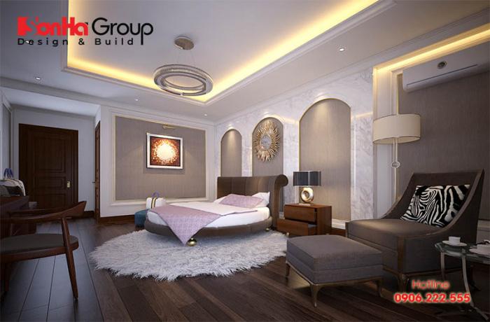 Ý tưởng thiết kế nội thất phòng ngủ khách sạn kiểu tân cổ điển đẹp, bố trí khoa học trên diện tích rộng rãi
