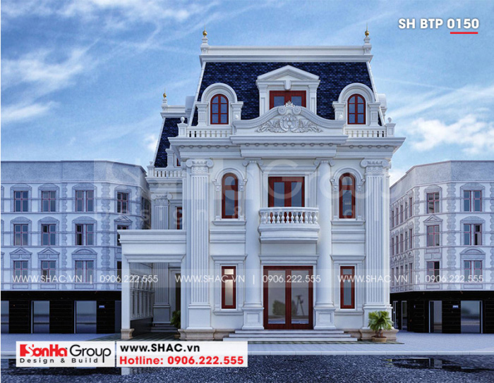 Mẫu thiết kế biệt thự 3 tầng diện tích 240m2 (12m x 20m) mang phong cách tân cổ điển đẹp tại An Giang