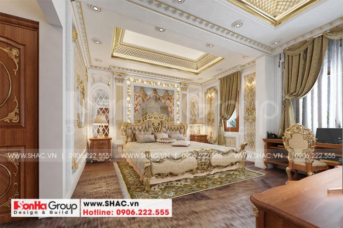 Căn phòng ngủ sang trọng, có ánh sáng hài hòa dành cho không gian phòng ngủ của vợ chồng gia chủ tại tầng 2