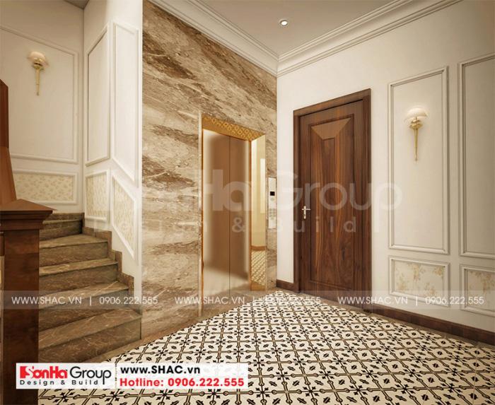 Ý tưởng thiết kế sảnh thang khách sạn đẹp mang phong cách tân cổ điển chủ đạo