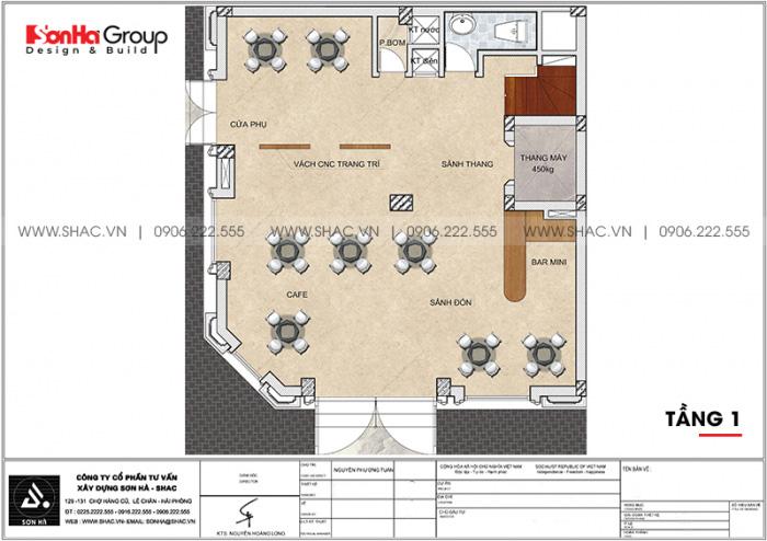 Phương án bố trí công năng tầng 1 khách sạn tân cổ điển 2 sao tại Quảng Ninh