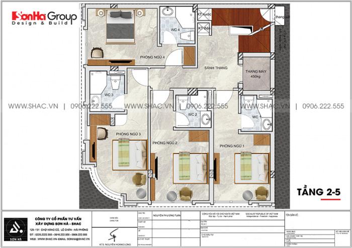 Phương án bố trí công năng tầng 2 đến tầng 5 khách sạn tân cổ điển 2 sao tại Quảng Ninh