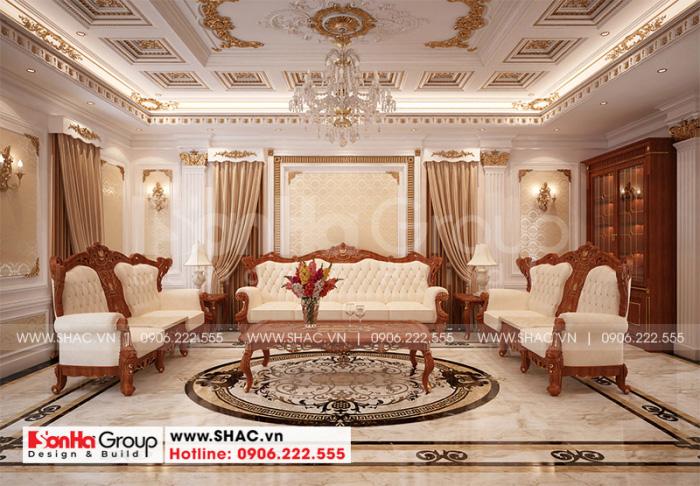 Cách bày trí nội thất phòng sinh hoạt chung mang phong cách tân cổ điển nhẹ nhàng, trang nhã với màu sắc tươi mới