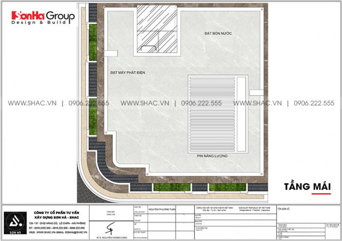 Phương án bố trí công năng tầng mái khách sạn tân cổ điển 2 sao tại Quảng Ninh