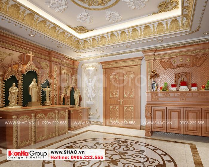 Không gian phòng thờ cổ điển, tôn nghiêm và trang trọng tạo nên bản sắc của chủ nhân sở hữu