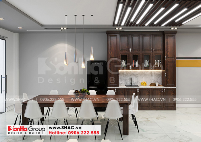 Thiết kế phòng bếp ăn hiện đại bố trí tủ bếp chữ I bằng gỗ công nghiệp