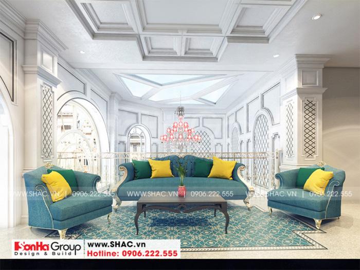 Không gian sảnh chờ với thiết kế nội thất tân cổ điển sang trọng, đẳng cấp