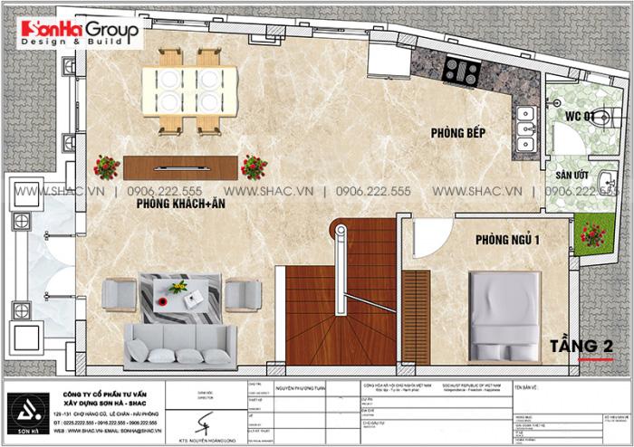 Bản vẽ mặt bằng tầng 2 biệt thự lâu đài mini diện tích sàn 88,16m2 (7,6m x 11,6m) tại Hưng Yên