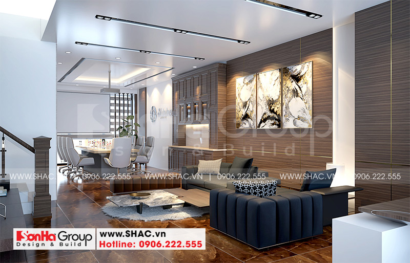 Mẫu nội thất nhà phố liền kề hiện đại kết hợp văn phòng làm việc 6m x 15,26m tại Waterfront City Hải Phòng 4