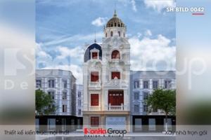 BÌA thiết kế biệt thự lâu đài mini 4 tầng mặt tiền 7,6m tại hưng yên sh btld 0042