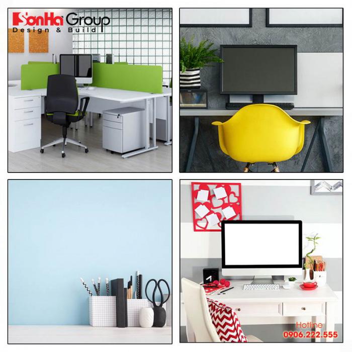 Bố cục màu sắc trong phòng làm việc đơn giản mà hiện đại