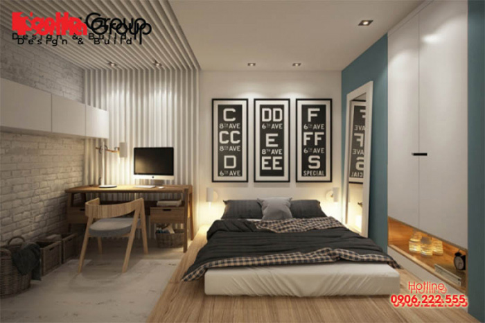 Các gam màu trầm và trung tính là lựa chọn tuyệt vời cho phòng ngủ không giường