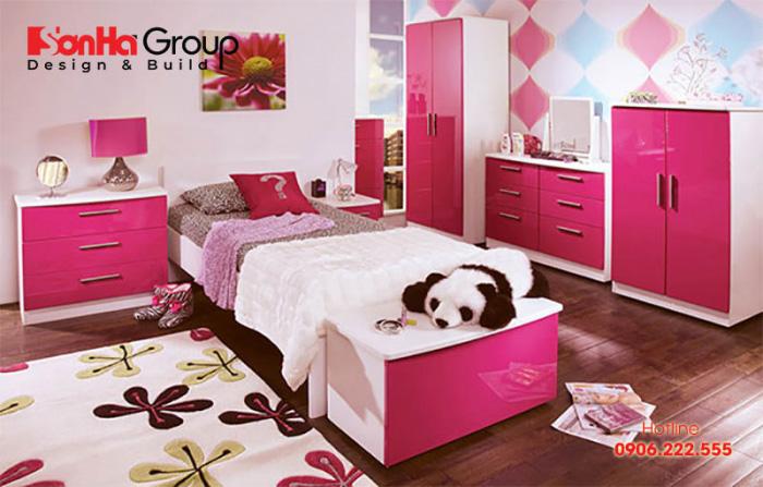 Cách trang trí phòng ngủ bé gái sử dụng màu hồng làm điểm nhấn được các bé vô cùng yêu thích