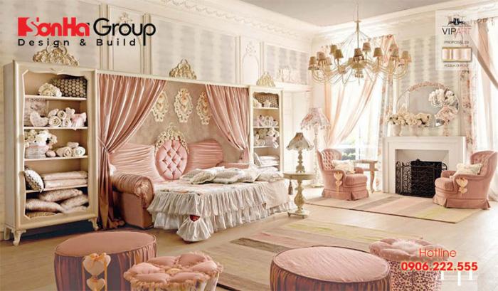 căn phòng ngủ công chúa với gam màu hồng pastel dễ thương mang phong cách tân cổ điển ấn tượng