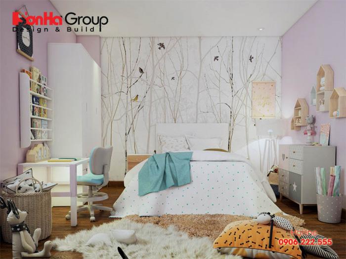 Căn phòng ngủ dành cho bé gái đẹp và màu sắc sinh động tươi mới hài hòa với lứa tuổi mà Chủ đầu tư lựa chọn cho bé