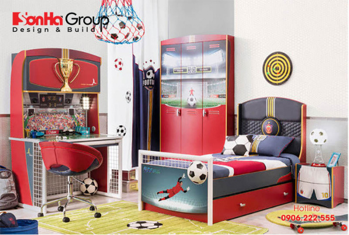 Căn phòng ngủ mang chủ đề bóng đá được các bé trai yêu thích nhất hiện nay