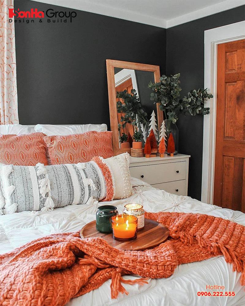 Căn phòng ngủ màu cam thiết kế dành riêng cho những cô càng cá tính