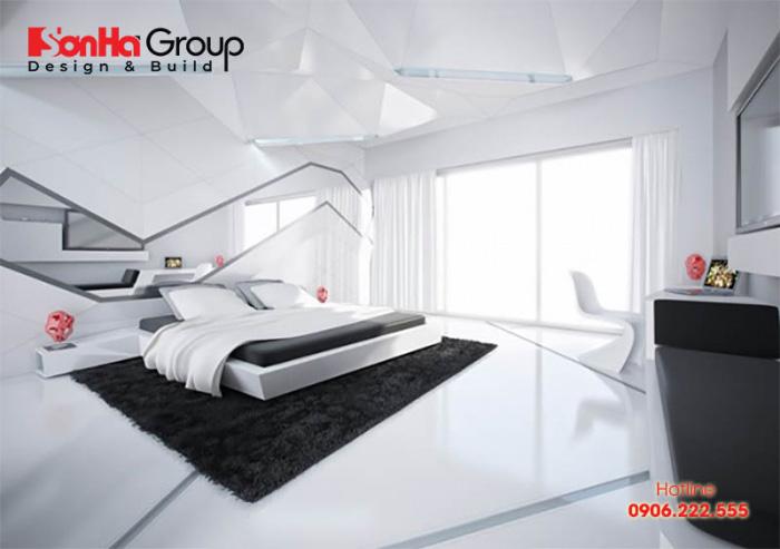 Cấu trúc hình khối đa dạng và gam màu trắng đen mang đến cái nhìn siêu hiện đại cho thiết kế phòng ngủ
