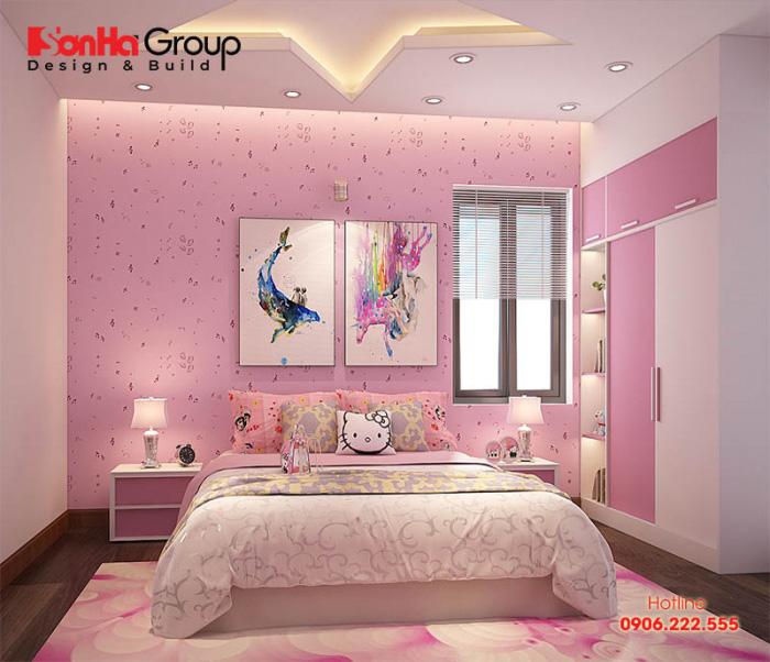 Chắc hẳn đây sẽ là sự lựa chọn lý tưởng cho các con gái lớn trong gia đình với thiết kế nội thất phòng ngủ hiện đại đầy đủ tiện nghi cao cấp sở hữu tone màu hồng đáng yêu đúng sở thích