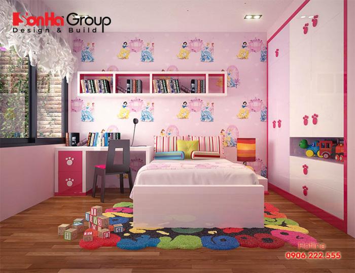Chắc hẳn đây sẽ là sự lựa chọn lý tưởng cho các con gái trong gia đình với thiết kế nội thất phòng ngủ hiện đại đầy đủ tiện nghi cao cấp