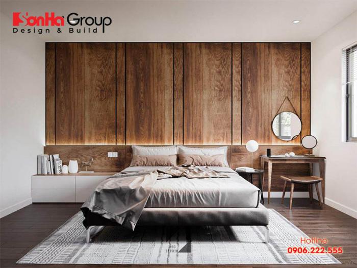Còn đây là ý tưởng thiết kế phòng ngủ hiện đại với nội thất gỗ tự nhiên vô cùng đẹp.