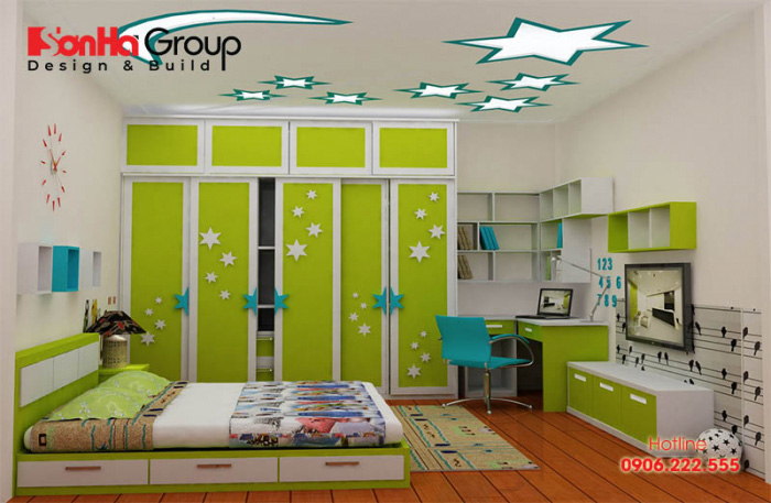 Đây cũng là căn phòng ngủ mang màu xanh chủ đạo được đông đảo các bậc phụ huynh lựa chọn cho con mình